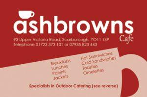 ashbrowns, business card, cafe, menu, graphic design